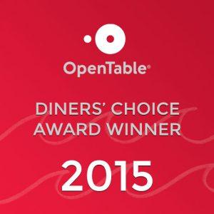 Diner's Choice Award Winner 2015